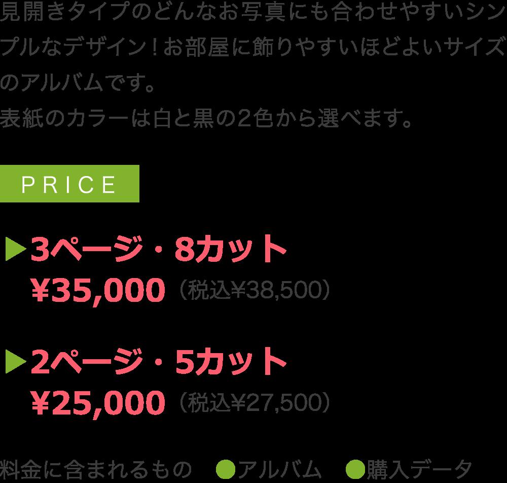 見開きタイプのどんなお写真にも合わせやすいシンプルなデザイン!お部屋に飾りやすいほどよいサイズのアルバムです。 表紙のカラーは白と黒の2色から選べます。  ▶3ページ・8カット  ¥35,000(税込¥38,500)  ▶2ページ・5カット  ¥25,000(税込¥27,500)  料金に含まれるもの ●アルバム ●購入データ