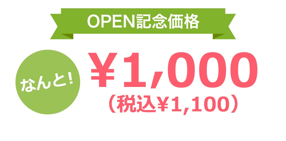 OPEN記念価格なんと!¥1,000(税込¥1,100)