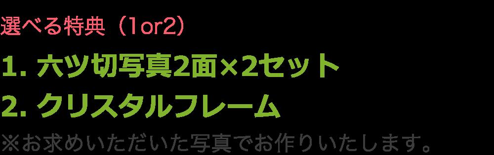 選べる特典(1or2)1. 六ツ切写真2面×2セット 2. クリスタルフレーム ※お求めいただいた写真でお作りいたします。