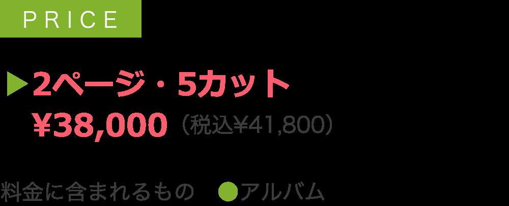 ▶2ページ・5カット  ¥38,000(税込¥41,800)  料金に含まれるもの ●アルバム