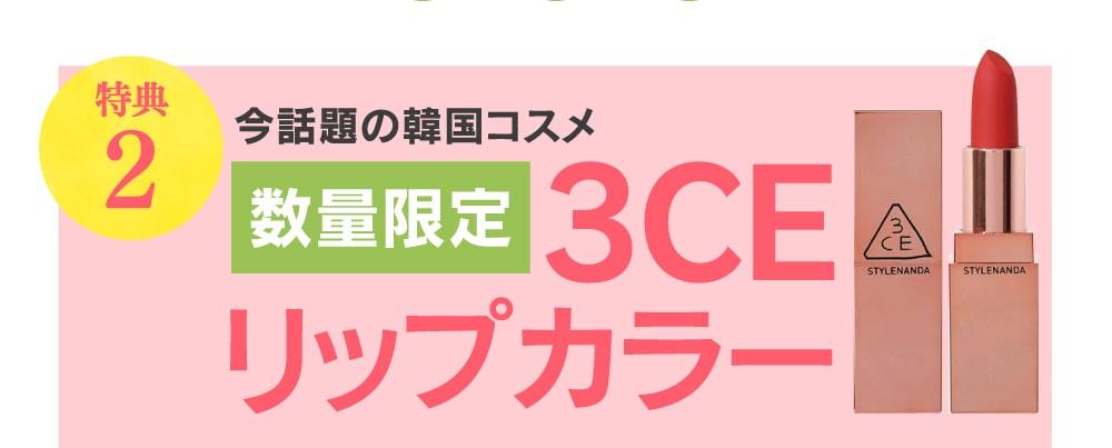 特典2 今話題の韓国コスメ 数量限定 3CE リップカラー